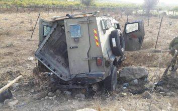 işgalci israil ordusuna ait askeri araç devrildi: 1 ölü, 3 yaralı