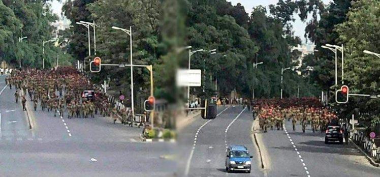 """Etiyopya'da yüzlerce asker, """"zam istemek"""" için Başbakanlığa yürüdü"""