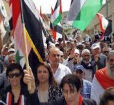 Golan Tepeleri'ndeki Suriyeliler ABD'nin müdahaleci girişimini protesto ettiler